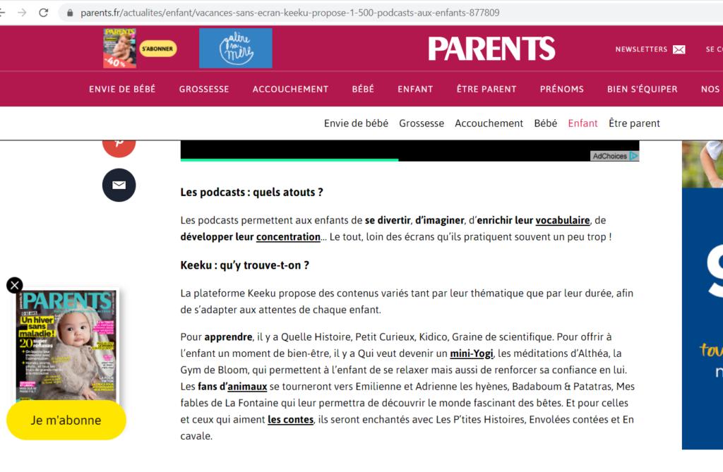 """Extrait article """"Parents"""""""